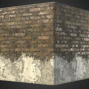 Brick wall plaster cube