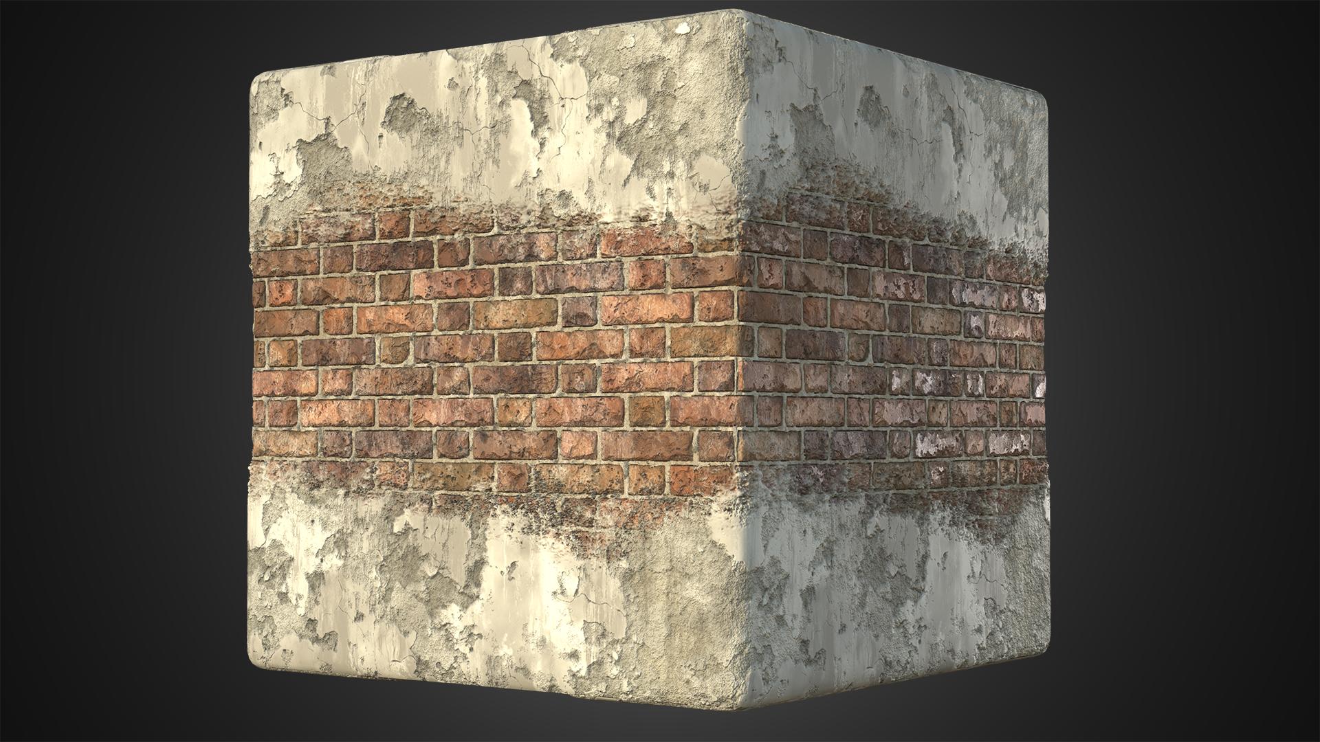 Brick Wall Plaster2 Cube