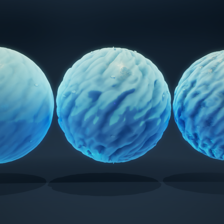 Three snow spheres